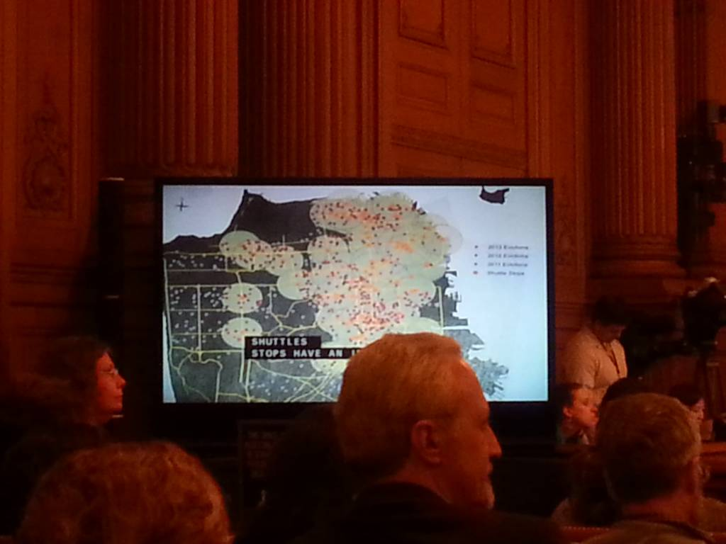 Anti_Eviction Mapping project data shown to the supervisors demonstrates how the Google Buses lead to evictions