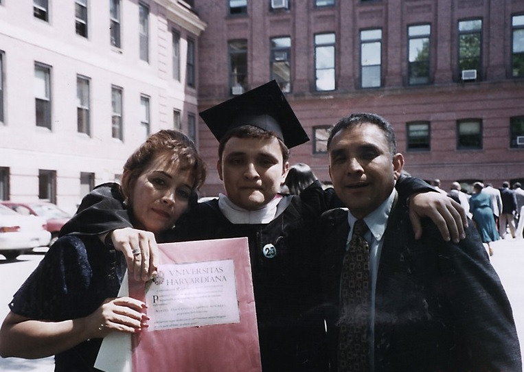 Campos at his Harvard Law School graduation -- a long way from a cold night on the border