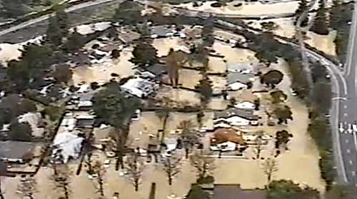 Aerial view of the San Franciquito Creek flood in 1998. (courtesy of San Francisquito Creek Joint Powers Authority)