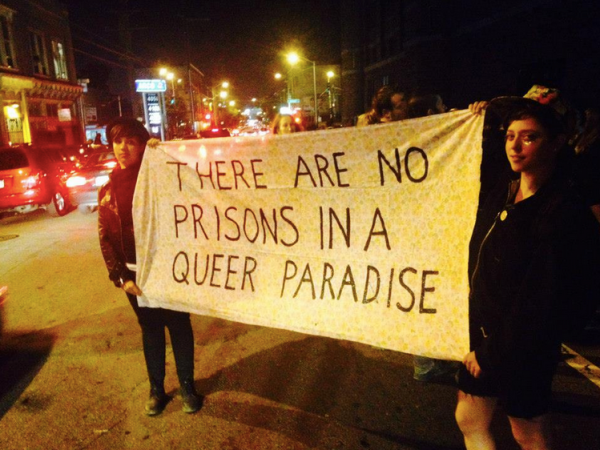 Protesters outside a Kink.com prison-themed party