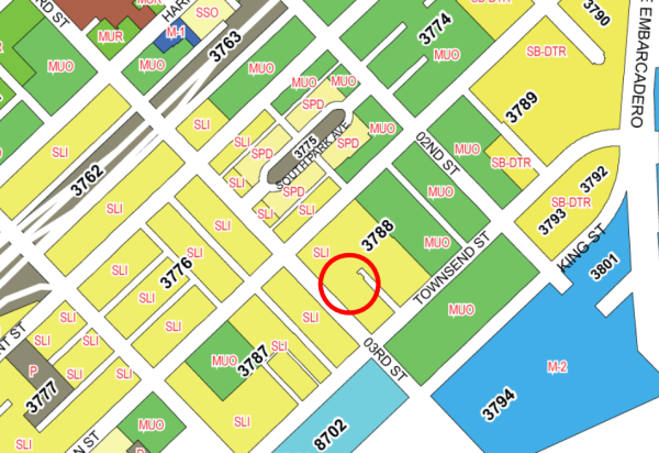 This city zoning map shows that 665 Third is in a SALI area, not zoned for genetic engineering on steroids