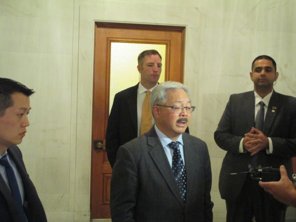 Mayor Lee talks to reporters after today's Question Time