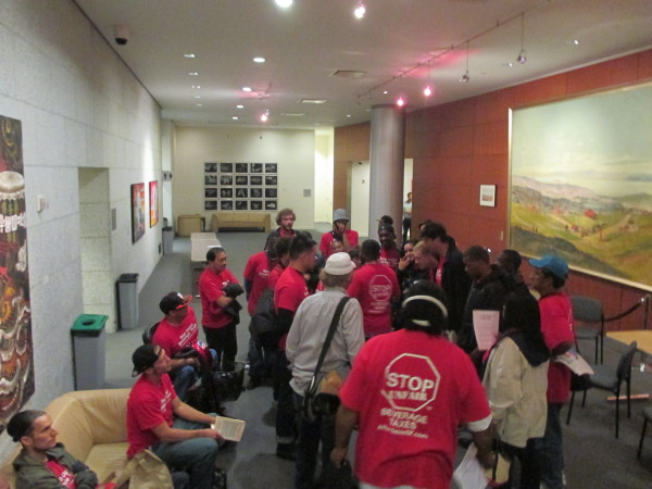 A crew of soda-tax opponents showed up, but didn't speak and vanished long before the vote