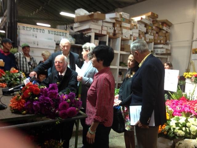 The 98-year-old Albert Nalbandian, dean of the SF florist word, speaks on behalf of saving the Flower Mart