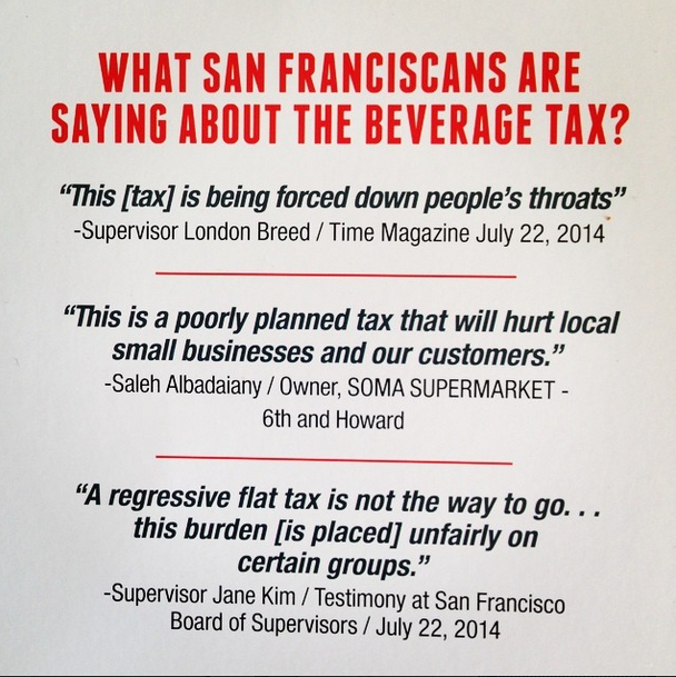 The American Beverage Association is circulating this flier to stir up opposition to the soda tax