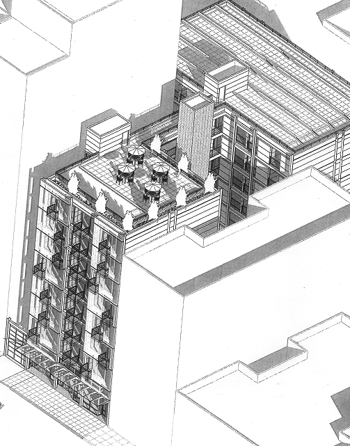 """The Turk Street facade of a new """"market-rate"""" SRO shows a roof garden and balconies"""