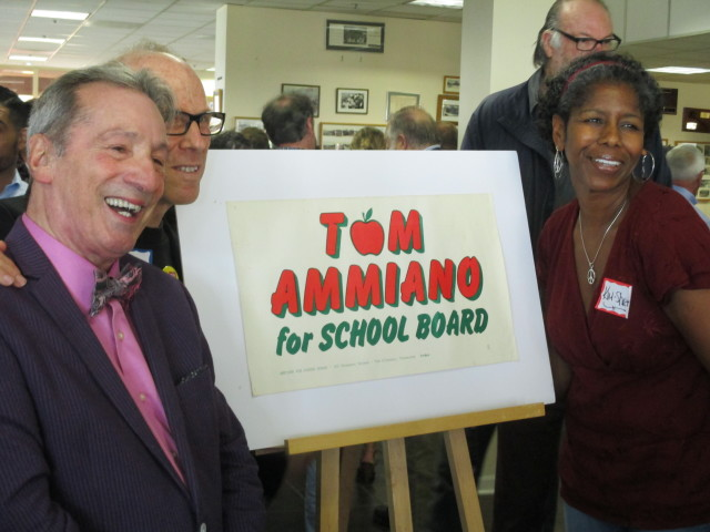 From the past: Ammiano, teachers' union activist Ken Tray, and School Board Member Kim-Shree Maufas pose with Tom's first campaign sign