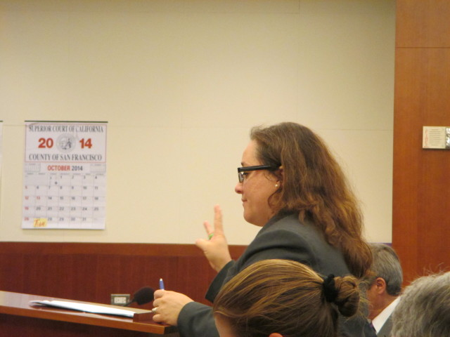 Yvonne Mere, deputy city attorney, presents the case against the ACCJC