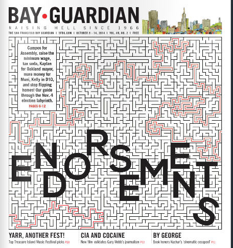 The last endorsements issue of the Bay Guardian -- and the last cover that's live on the website