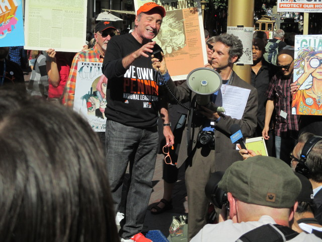 Tom Ammiano speaks at the Bay Guardian rally