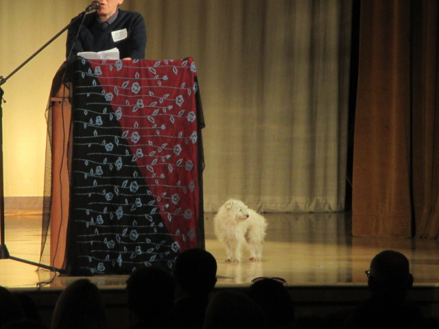Falcor, Ted's beloved dog, was onstage too
