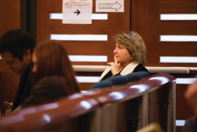 Barbara Beno listens to evidence at the City College trial. Photo by James Fanucchi