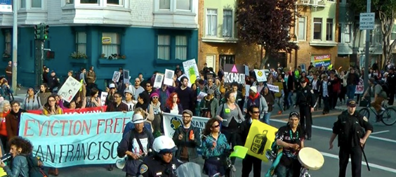 April 11, 2014 March protesting evictions of teachers in San Francisco.  Published with permission from Eviction Free SF