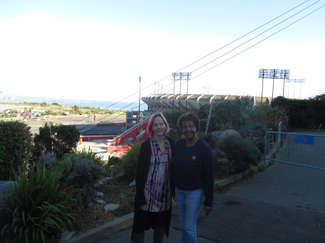 Shirley Moore and Julia Barber are fighting plans to demolish the stadium with explosives