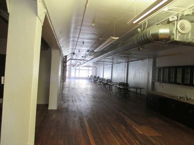 The lower floor has been cleared out and made ready for a tech-office tenant