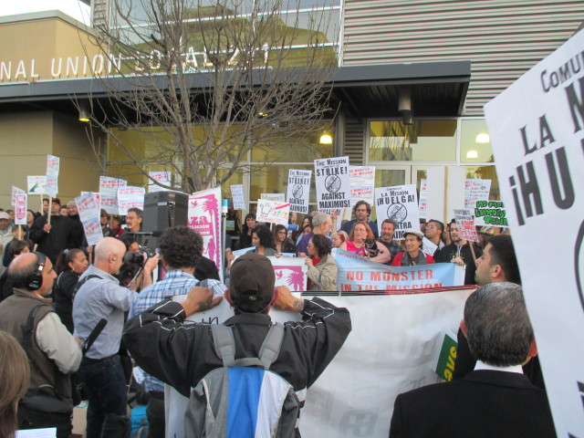 A large crowd gathered outside before the event