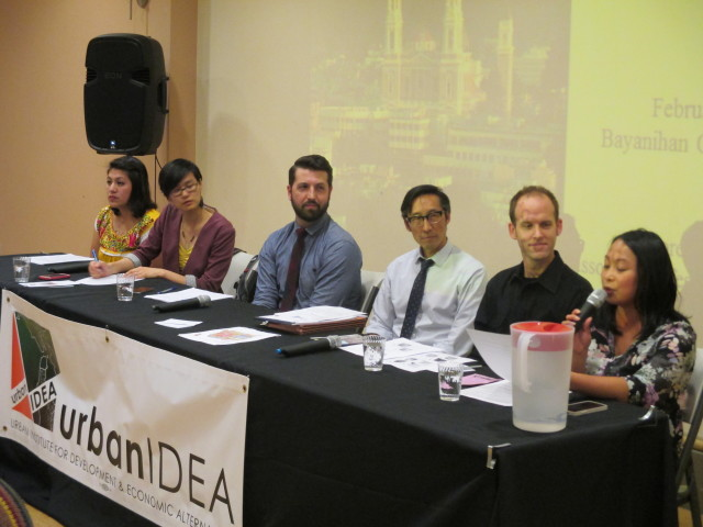 The Urban IDEA panel: Moderate Dyan Ruiz, USF Professor Corey Cook, Sup. Eric Mar, Campos aide Nate Allbee, SF Rising Action Fund's Emily Lee and Causa Justa:Just Cause staffer Maria Zamudio