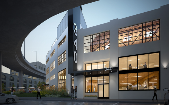 The CAC Group's mockup of the renovated 340 Bryant shows a site surrounded by freeways