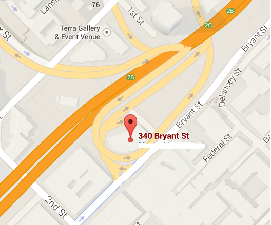 Google Maps shows how the site is wrapped up in freeways and on-ramps, not very friendly to pedestrians