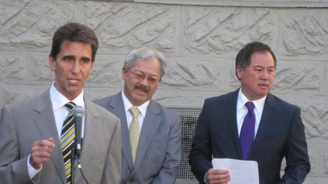 Sen. Mark Leno, Mayor Ed Lee and Assemblymember Phil Ting announced support last year for Ellis Act reform. Now it's back