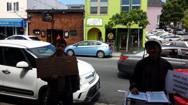 SFBARF guy tries to stop people from signing a petition to save the Flower Mart