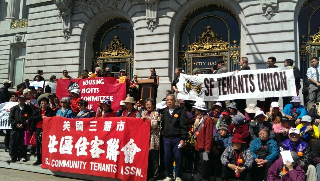 Tenants rally at City Hall to support the new eviction protections