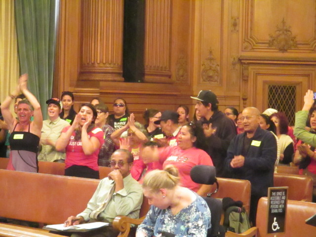A cheering crowd supported the Mission moratorium