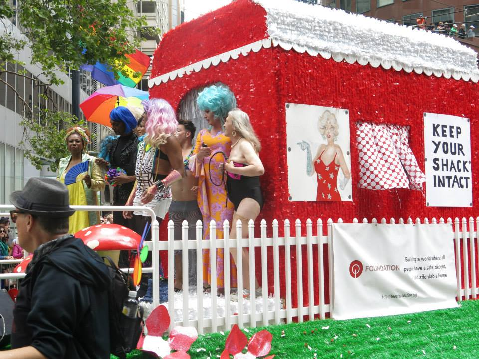 """A """"Love Shack,"""" float promoted equal housing."""