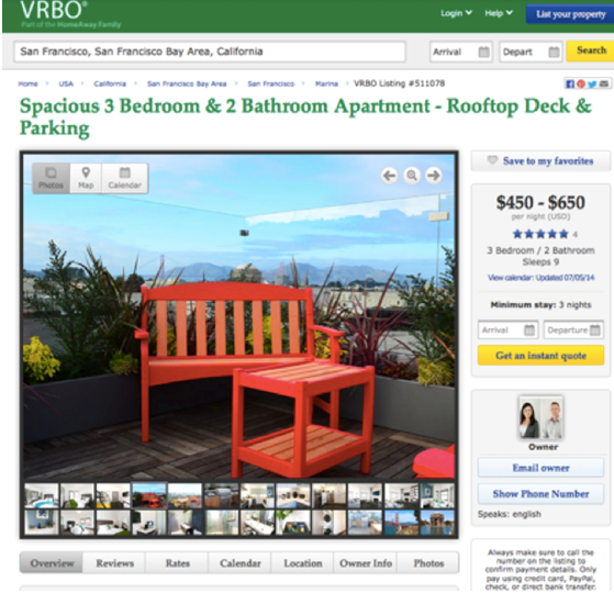 And this one on VRBO listed the Lombard St property