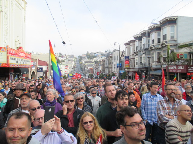 A large festive crowd celebrated marriage equality