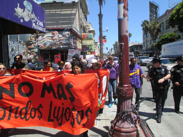 A large protest march moved through the Mission
