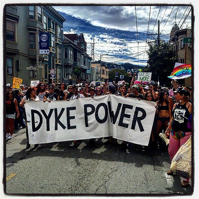 Dyke Marchers breached the barriers on 18th Street to take back the original route. Photo by Waiyde Palmer.