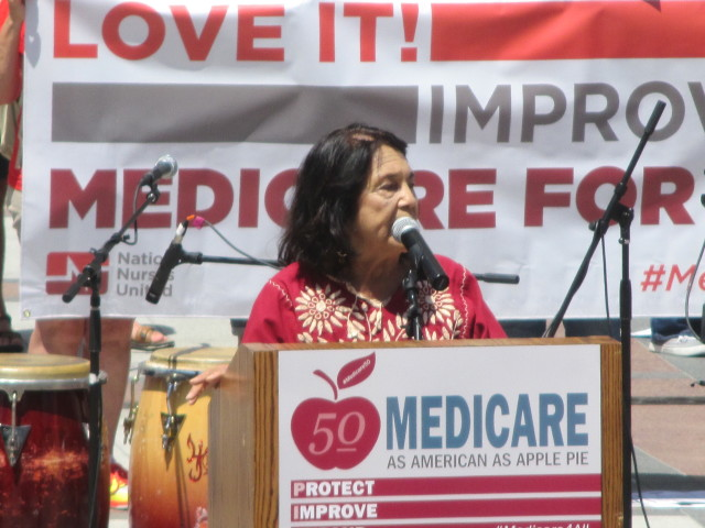 Dolores Huerta got the crowd saying that we have the power to demand change