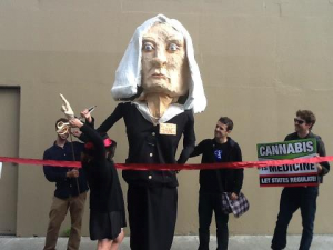 No love lost between US Attorney Melinda Haag and cannabis activists, who paraded this effigy of Haag around her hometown Berkeley in protest of her actions against dispensaries. Photo via ReformCA.
