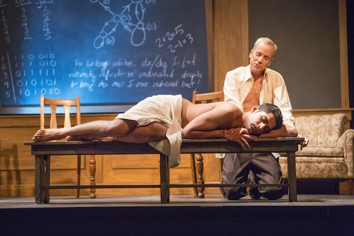 Heren Patel as Nikos, John Fisher as Turing in 'Breaking the Code' by Hugh Whitemore; A Theatre Rhinoceros production at the Eureka Theatre. Photo by David Wilson.