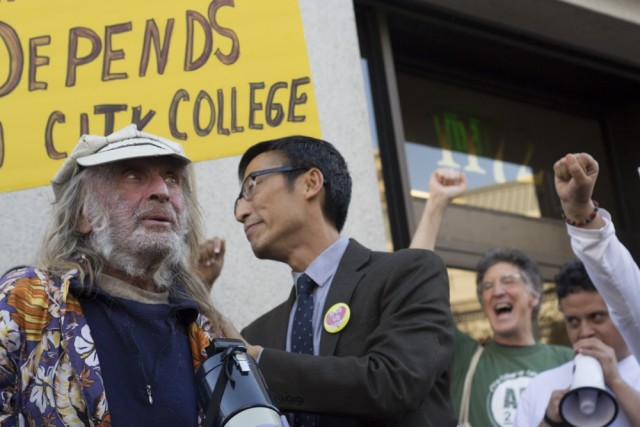 """Supervisor Eric Mar, center left, introduces """"Diamond"""" Dave Whitaker, far left, a City College of San Francisco life-long learner who just turned 78 years old"""