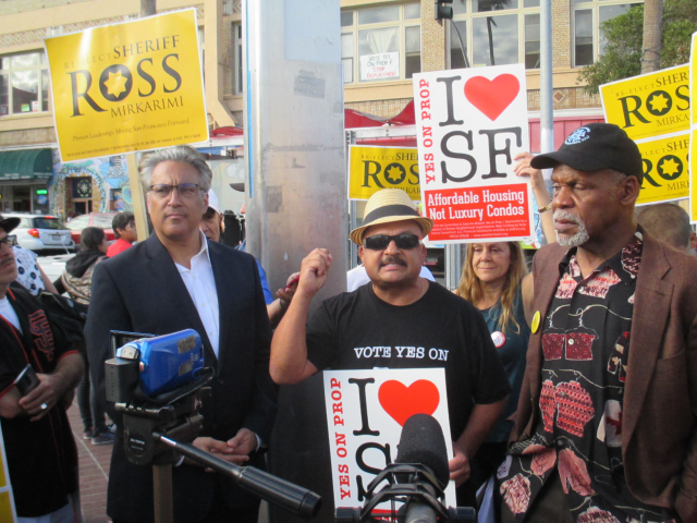 Ross Mirkarimi, Roberto Hernandez, and Danny Glover rally in the Mission