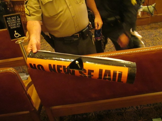 Protesters fighting a new jail locked themselves together with PVC pipe last week