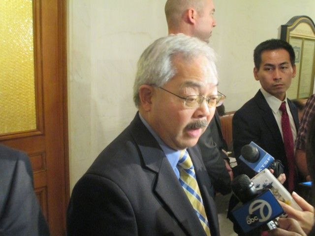 Mayor Lee discusses the Woods shooting with reporters