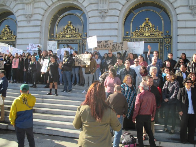 High School students fill the steps of City Hall to protest police killings