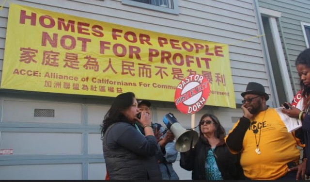 ACCE activists protest the eviction of Pastor Yul Dorn and his family