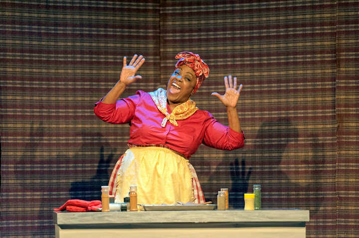 "Clara McDaniel as Aunt Ethel in ""Cooking with Aunt Ethel"" segment of 'The Colored Museum'. Photo by Lance Huntley"