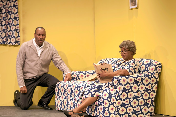 "Todd Risby as Walter Lee and Clara McDaniel as Mama in ""The Last Mama on the Couch Play"" in The Colored Museum. Photo by Lance Huntley"