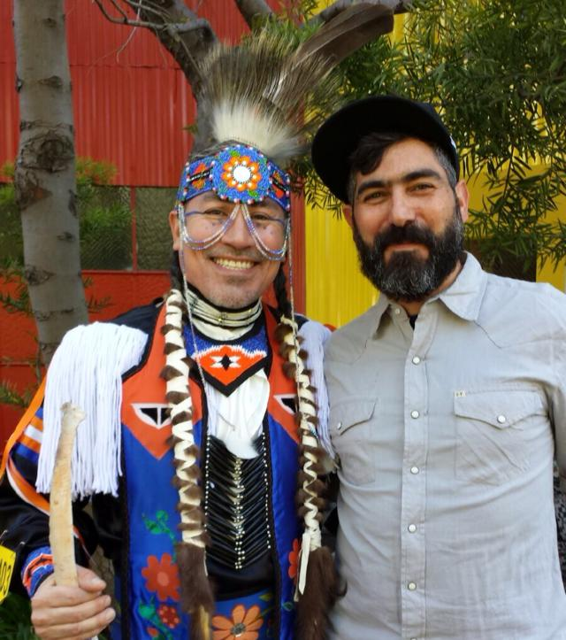 Marke B with dancer Harlan (I asked to take this picture!) at the 2014 Two Spirit powwow at SOMArts