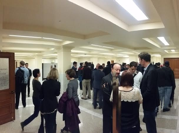 The scene at the Department of Elections Friday as supporters of real-estate lobbyist Mary Jung scramble to meet the filing deadline