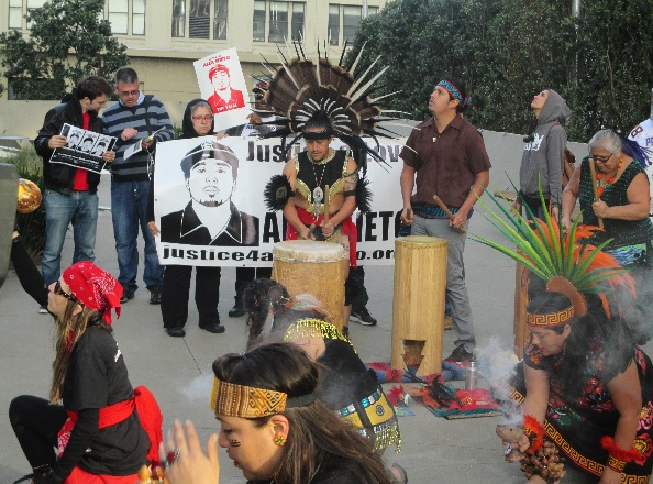 Aztec dancers headline a Justice for Alex Nieto rally outside the federal courthouse
