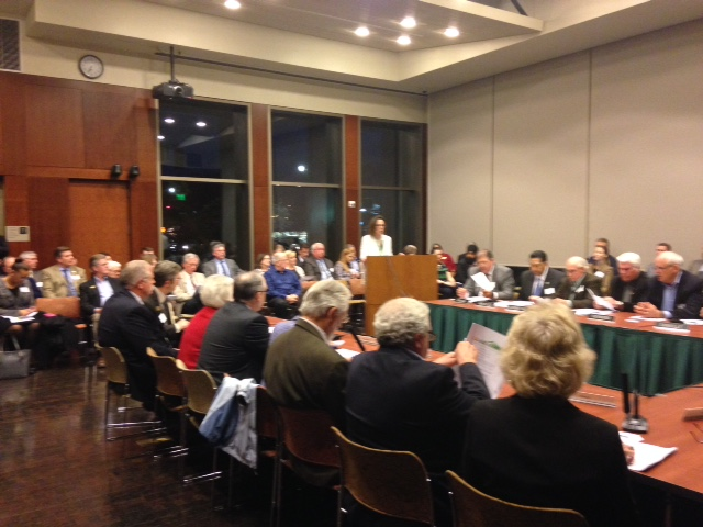 ABAG-MTC merger consultant Lynn Dantzker addressing the Contra Costa Mayors Conference in the Lafayette Public Library.