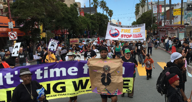 Big march in the Mission protesting police killings. Photo by Michael Redmond