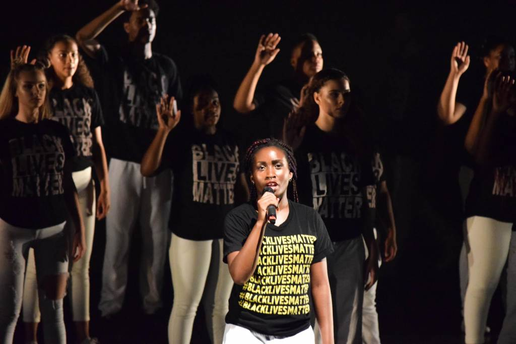 Performers speak with the strength of the activists who first uttered their lines in 'Seed Language'. Photo: Layeelah Muhhamad, Destiny Arts student