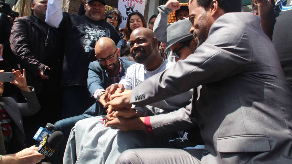 Frisco 5 – except Gutierrez - after the press conference on Thursday. Photo by Sana Saleem